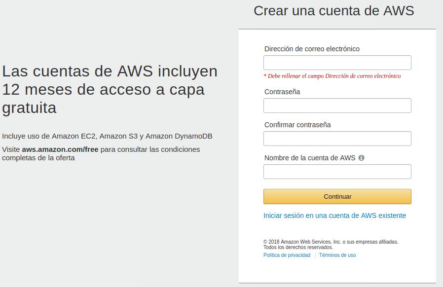 Crear cuenta en AWS, paso 2