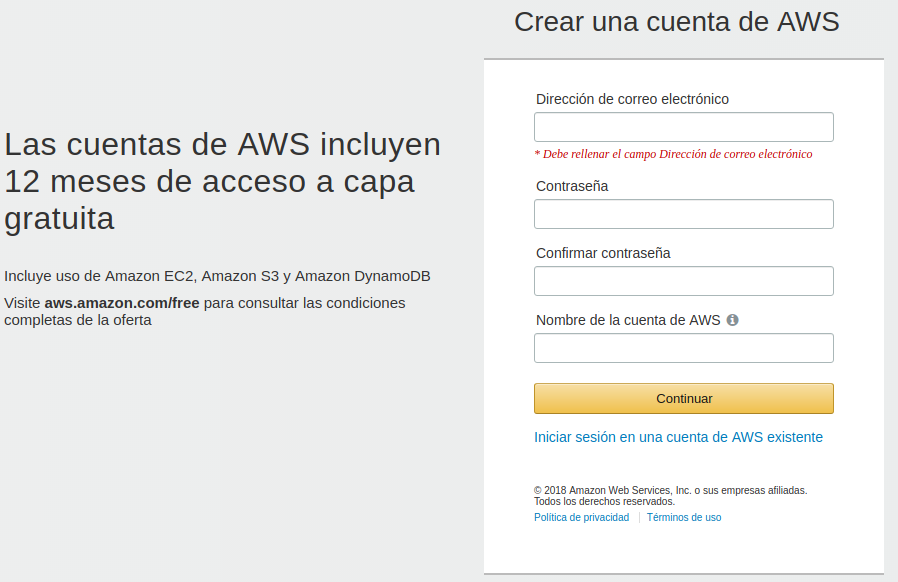 Create AWS account, step 1