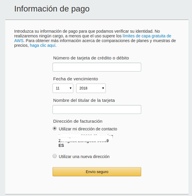 Create AWS account, step 3