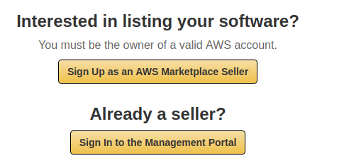 Register on AWS Marketplace, step 1
